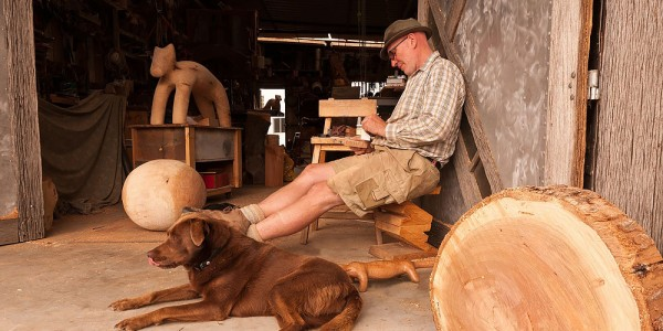 Andrew & dog in workshop - Dennis Hickman