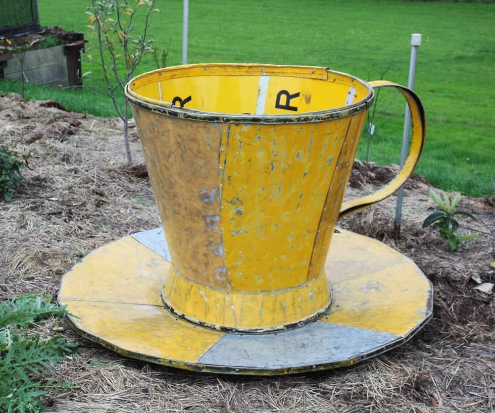 road sign tea cup