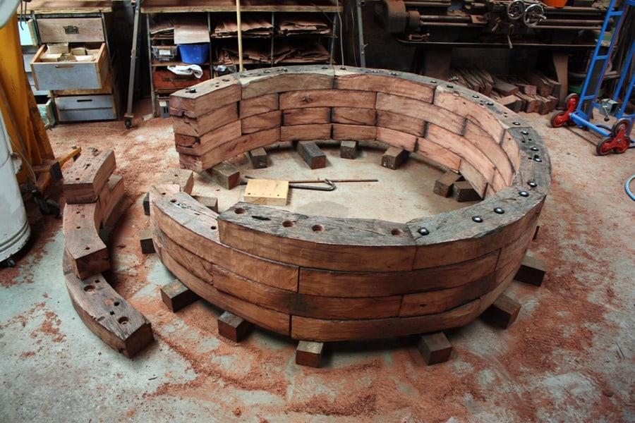 Assembling iron bark sleeper sculture